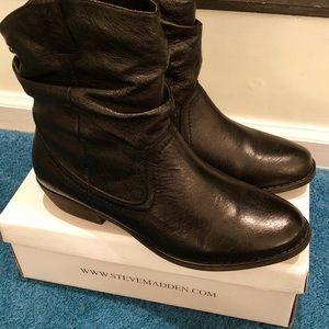 Steve Madden Leather Ankle Boots, Black